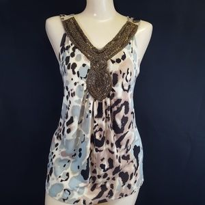 J W STYLE TANK TOP WOMEN'S XL Animal Print Beaded